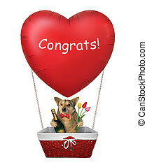Dog in a red heart balloon