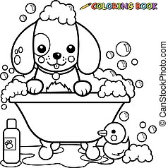 Vector black and white outline illustration of a dog in a tub taking a bubble bath.
