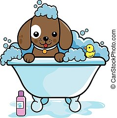 Vector illustration of a dog in a tub taking a bubble bath.