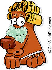 Dog in beauty salon - Cartoon illustration of dog in beauty ...