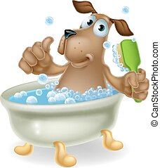 Dog in bubble bath cartoon - Dog grooming concept of cartoon...