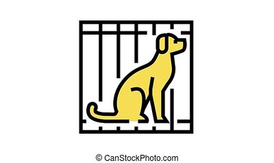 dog in cage animated color icon. dog in cage sign. isolated on white background