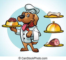 dog in chef clothes serving a dish - Illustration of a Happy...