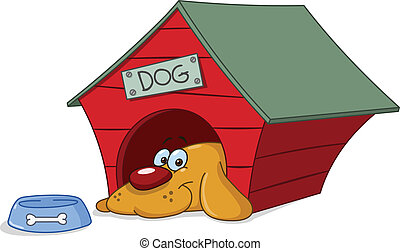 Dog in doghouse - Smiling dog in his doghouse