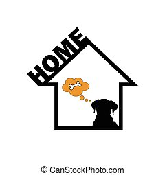 dog in home vector - dog in home art vector