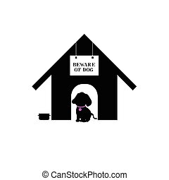 dog in house silhouette illustration