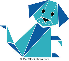 Dog in origami style silhouette vec
