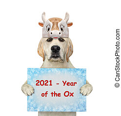 Dog in ox hat holds holiday sign