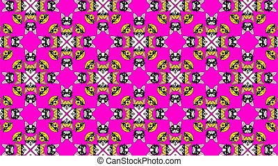 Dog in pixel sunglasses on pink neon background. Pattern