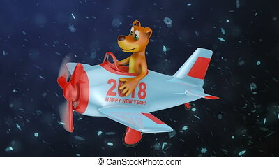 Dog waves his hand in the plane with the inscription Happy New Year 2018. 3D render.