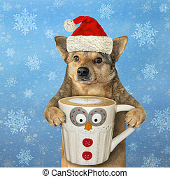 Dog in Santa Claus hat with coffee 2