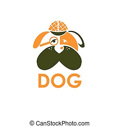 dog in Sherlock Holmes hat vector design template