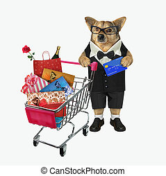 Dog in suit pushes shopping cart 2