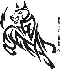 Dog in tribal style - vector illustration