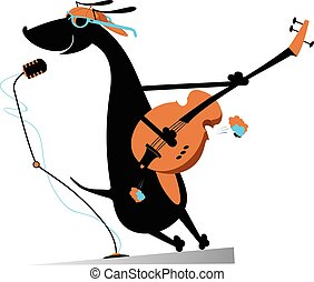Dog is playing guitar
