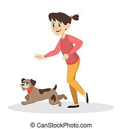 dog., jeu, enfant, girl, gosse, heureux