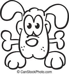 dog keeps a bone - contour
