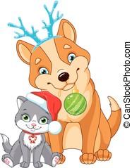 dog, kerstmis, kat