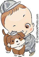 Dog Kid Boy Toddler Army Brat Pet Illustration