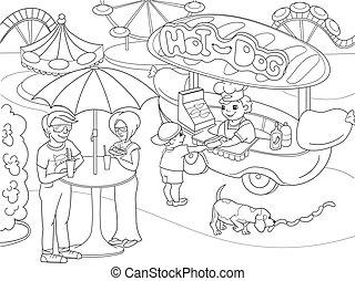 dog., kleuren, voedingsmiddelen, park, illustratie, warme, vector, vrachtwagen, children., pagina's, vermaak