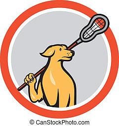 Dog Lacrosse Player Crosse Stick Cartoon Circle -...