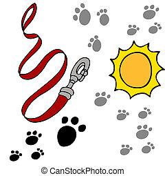 Dog Leash Pawprints - An image of a dog leash and paw...