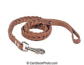 Dog leather leash, isolated on white background