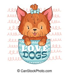 dog., lindo, perros, amor, mascota, poco, ilustración,...