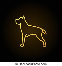 Dog line vector yellow concept icon