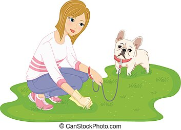 Dog Litter - Illustration Featuring a Woman Cleaning After...