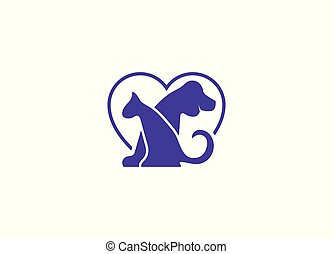 Dog logo and icon with heart sign