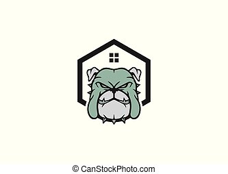 Dog logo and icon with home sign
