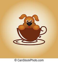 Dog logo coffee vector. - Animal coffee cartoon cute logo...