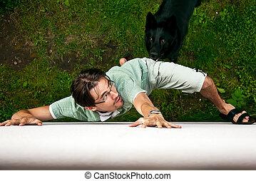 dog., loin, courant, voleur