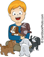 Dog Lover Kid - Illustration of a Little Kid Surrounded by...