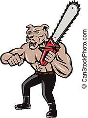 Dog Lumberjack Tree Surgeon Arborist Chainsaw Cartoon -...