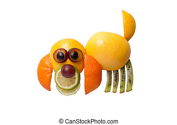 Dog made of juicy fruits on white background