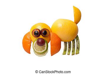 Dog made of juicy fruits on white background
