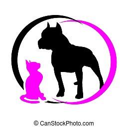 dog., magenta, chat noir