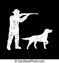 dog., main, dessiné, chasseur