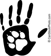 Dog - man's best friend. Handprint human and animal paw...