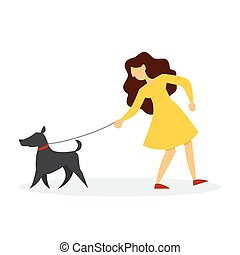dog., marche, femme, chouchou, girl, chiot