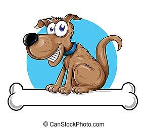 Dog mascot logo with Bone. illustration