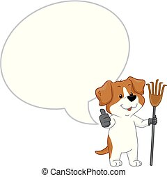 Dog Mascot Rake Poop Cleaner Speech Bubble