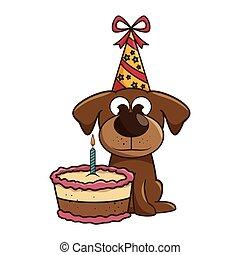 dog mascot with cake birthday