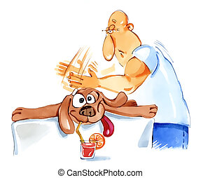 dog massage - humorous illustration of dog in spa on massage