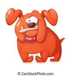 dog., matto, divertente, carino, cartone animato