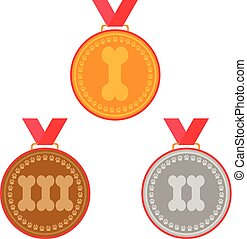 dog medals set. prizes for first three places - gold, silver and bronze