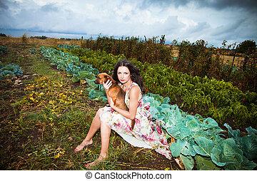 dog, meisje, tuin, herfst, groente