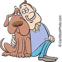 dog, met, eigenaar, spotprent, illustratie